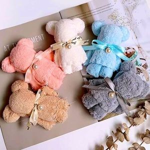 🎉 $8 ADD ON NEW Hand Towels formed in Teddy Bear with Pearl Designs Pink & Blue